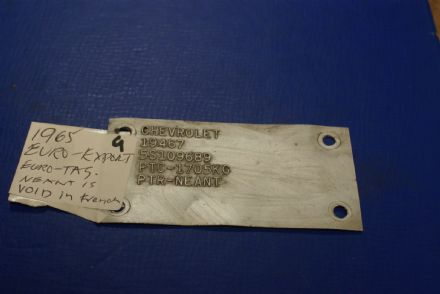 1965 Trim Tag (Euro Export),Original,Used